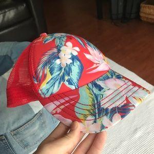 Billabong Red Floral Beachy Trucker Hat